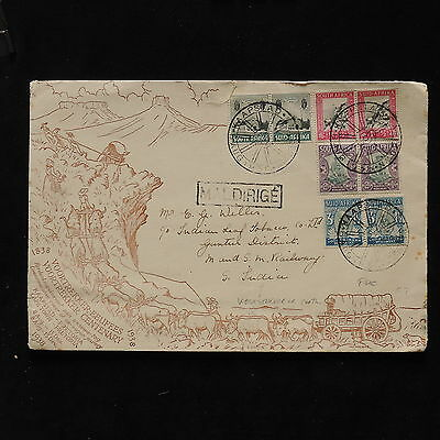 ZS-AB780 SOUTH AFRICA IND - Fdc, 1938 To S.India Voortreker 100Th Anniv. Cover
