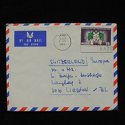 ZS-AC705 NIGERIA IND - Olympic Games, 1969 Airmail Fr Lagos To Switzerland Cover