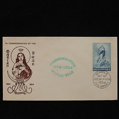 ZS-AC707 PHILIPPINES IND - Fdc, 1954 Commemoration Of Marian Year Cover