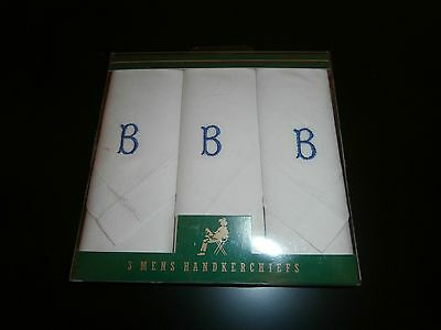 "Three Vintage Gents 100% White Cotton Handkerchiefs ~ Initial ""b"" ~"