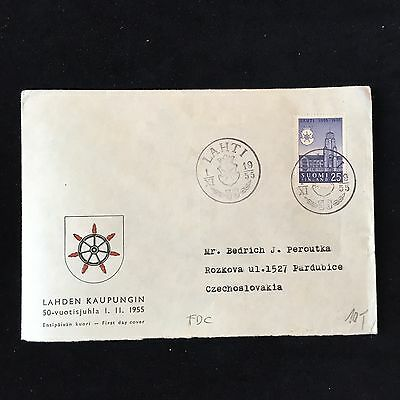 ZS-AC930 FINLAND - Fdc, 1955 From Lahti To Pardubice Czechoslovakia Cover