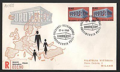 ZS-K054 FINLAND - Europa Cept, Fdc 1969 2 Stamps Registered To Italy Cover