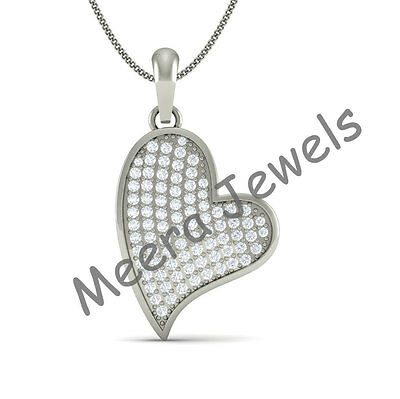 1.5 CT Weight White Stone Studded 925 Sterling Silver Women Heart Shape Pendant