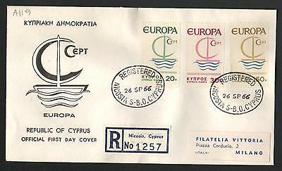 ZS-K069 CYPRUS-GREECE - Europa Cept, Fdc Registered Nicosia 1966 To Italy Cover