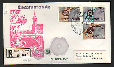 ZS-K117 LUXEMBOURG - Europa Cept, Fdc 1967 Edition Thill 3 Stamps To Italy Cover