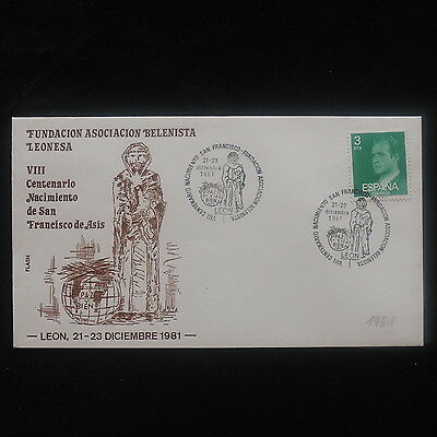 ZS-O435 SPAIN - Religion, St. Francis Anniversary Special Cancel 1981 Cover