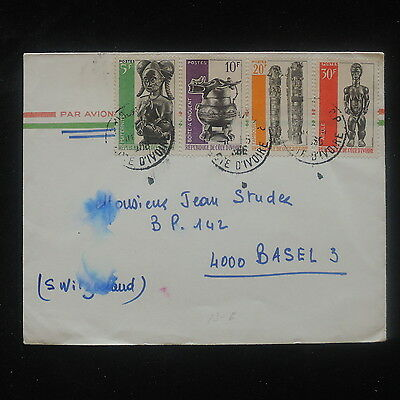 ZS-O711 IVORY COAST IND - Cover, Sculptures Airmail To Switzerland