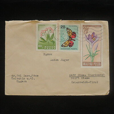 ZS-P122 FLOWERS - Butterflies, Hungary, 1957 Great Franking Cover