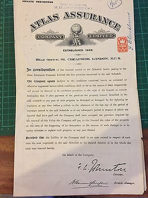 Historic Document with Six Pence Revenue Fiscal Stamp -  Fire Policy 1927
