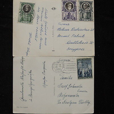 ZS-Q376 VATICAN CITY - Postcard, Lot Of 2 Different Old To Switzerland Covers