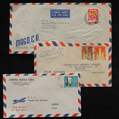 ZS-R000 VENEZUELA - Covers, Lot Of 3 Air Mail To Switzerland