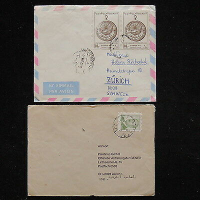 ZS-R076 SYRIA IND - Covers, Lot Of 2 Different To Switzerland