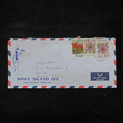 ZS-T429 GRENADA IND - Flowers, 1989 To Milan Italy Cover