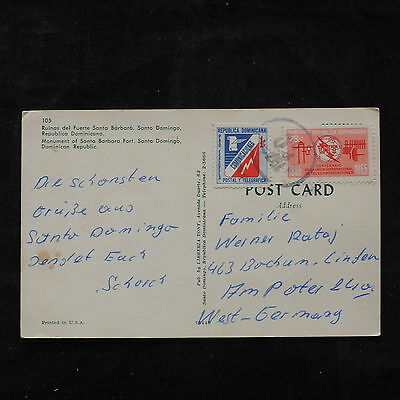 ZS-U575 DOMINICAN REP. - Post Card, Great Franking To Germany