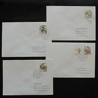 ZS-W563 BIRDS - Germany, 1991, Great Franking Airmail, Lot Of 4 Covers