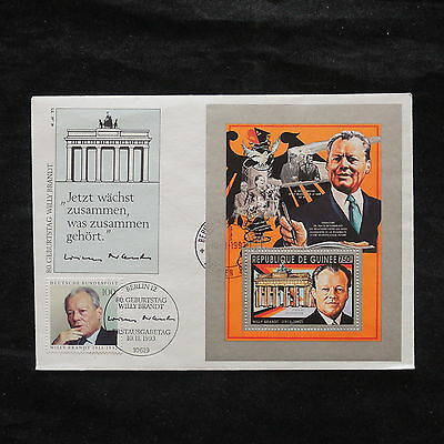 ZS-W865 GUINEA - Fdc, 1993 80Th Anniv. Willy Brandt, Porf. Sheet Cover