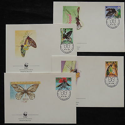 ZS-W892 BUTTERFLIES - Papua New Guinea Ind, Wwf, 1988 Fdc, Great Lot Of 4 Covers