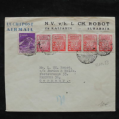 ZS-X188 INDONESIA - Airmail, 1953, Great Franking To Germany Cover