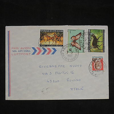 ZS-X753 IVORY COAST IND - Wild Animals, Butterflies, 1980 Airmail To Italy Cover