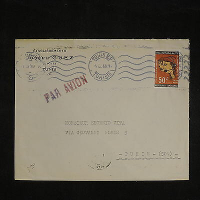 ZS-X807 TUNISIA IND - Cover, 1963, Joseph Guez, Airmail To Italy