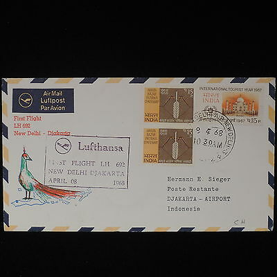ZS-Z485 INDIA IND - Lufthansa, 1968 First Flight New Delhi Djakarta Cover
