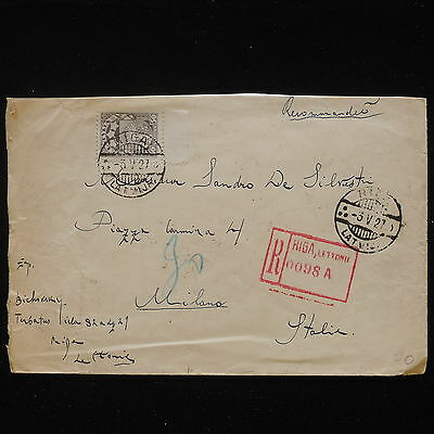 ZS-Z996 LATVIA - Cover, 1927 Registered From Riga To Milan Italy