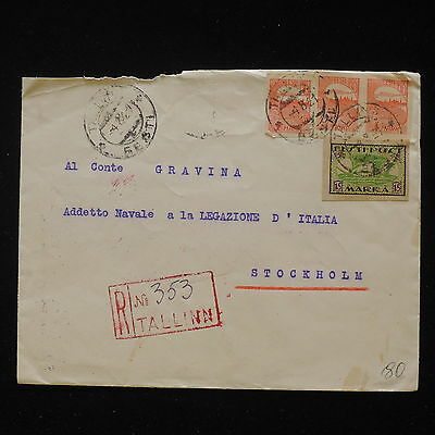 ZS-Z998 ESTONIA - Cover, 1921 Registered Mail From Tallin To Stocholm Sweden