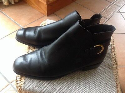 Marks And Spencer Black Leather Ladies Ankle Boots Size 7 Vgc