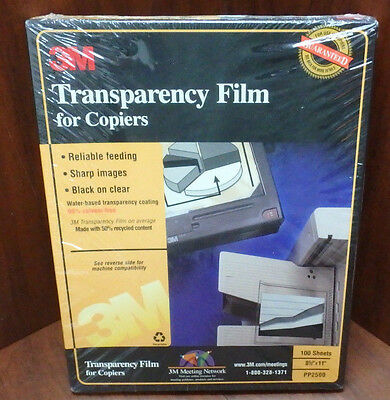 NEW 3M Transparency Film for Copiers PP2500, 100 Sheets - SEALED