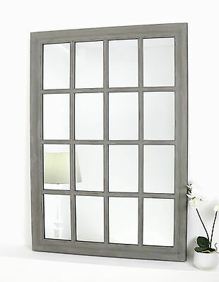 "Provence Grey Shabby Chic Rectangle Window Wall Mirror 40"" x 28"" V Large"