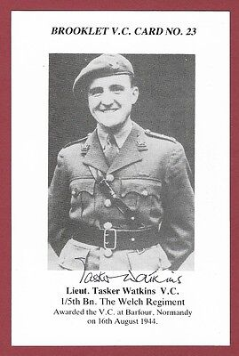Signed Brooklet Card - Lieut. Tasker Watkins Vc - Victoria Cross Recipient Wwii.