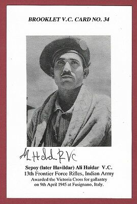 Signed Brooklet Card - Sepoy Ali Haidar Vc - Victoria Cross Recipient Wwii 1945.