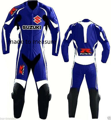 1-PC Suzuki  Motorcycle Leather Suit Motogp Motorbike Leathers suit blue & white