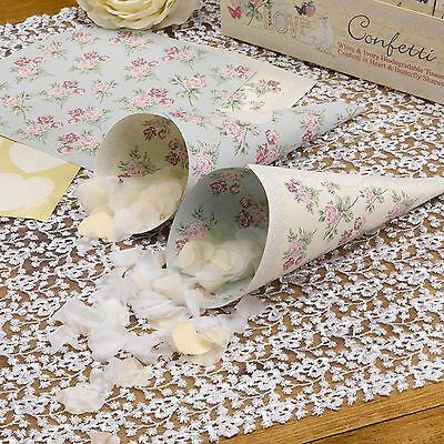 10 CONFETTI CONES and HEART STICKERS Floral WITH LOVE Wedding