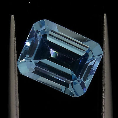 4.16ct emerald cut natural blue topaz loose diamonds gemstones gems recycled