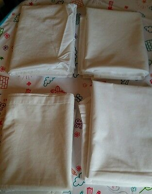 3 x White Baby Flat Cot Bed / Junior Toddler Bed 1 x top Sheets 100% Cotton