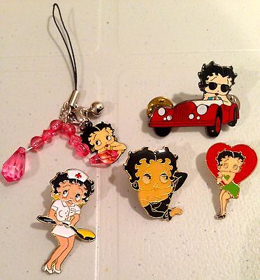BETTY BOOP Lot of 4 Collectable Lapel Pins with One Key Chain Decoration