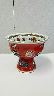 Lovely Chinese Antique/vintage Qinglong/kangxi Marked Small Stem Cup Dragon