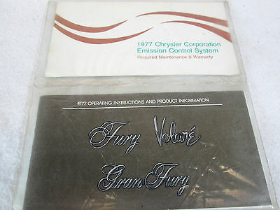 Vintag 1977 Plymouth Fury Gran Fury & Volare original owners manual