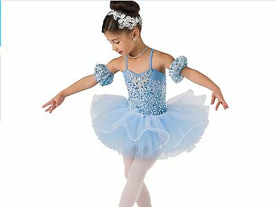Girls Blue Ballet Tutu Costume Size Small Child Or 3-5 Years