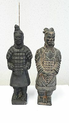 "Lovely Pair 6.5"" Chinese Antique/vintage Terracotta Warrior Statues / Figurines"
