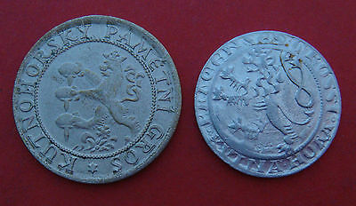 Bohemia. Lot of 2 tokens. Medieval Prague Groschen.