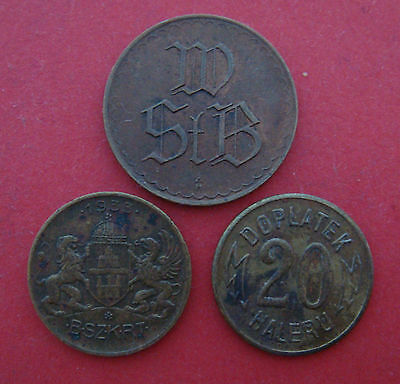 Lot of 3 tramways transport tokens. 1930's. Prague, Vienna, Budapest.