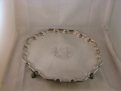 ANTIQUE ENGLISH STERLING SILVER SALVER by THOMAS FARREN LONDON 1742
