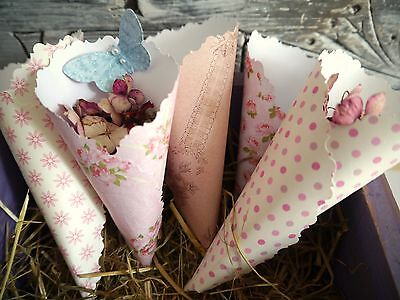 100 confetti cones wedding shabby chic SALE SHORT TERM SAVE £3 OFF USUAL PRICE