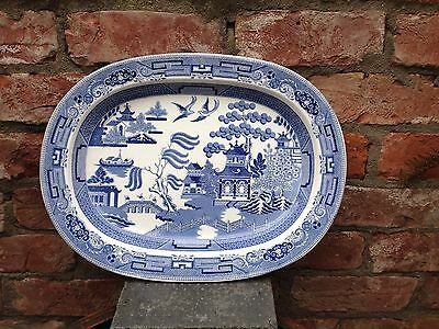 Antique Blue And White Platter.