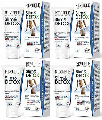 4x Revuele Slim & Detox Body Correction Wrap with Hot & Cold Effect 200ml