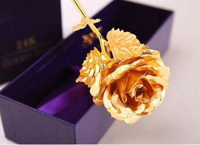 24K Dipped Gold Foil Rose Wedding Birthday Best Valentine's Day Lovers Gifts+Box