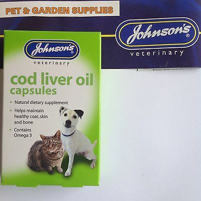 Johnsons Cod Liver Oil Capsules for Dogs & Cats & Birds FREEPOST