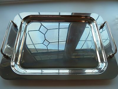 Large Vintage Silverplated Serving Tray With Handles, Wedding Cocktails Drinks